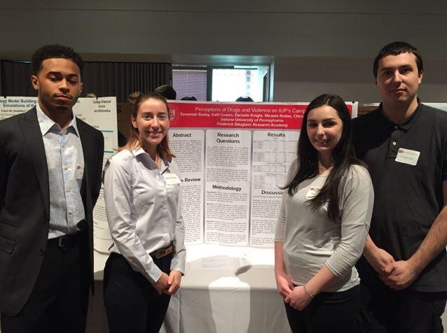 Kalif, Micaela, Danielle, Chris at IUP Scholars Forum